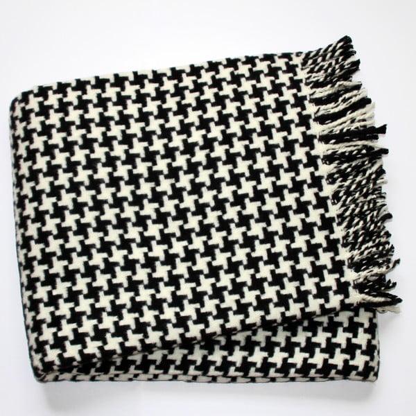 Černý pléd s podílem bavlny Euromant Pearls, 140x180cm