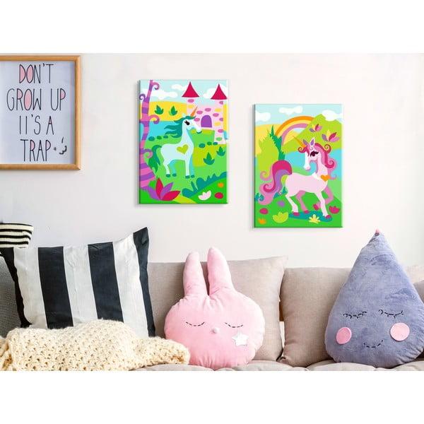 Set DIY pentru crearea unei picturi pe pânză din două părți Artgeist Fairytale Unicorns, 33 x 23 cm