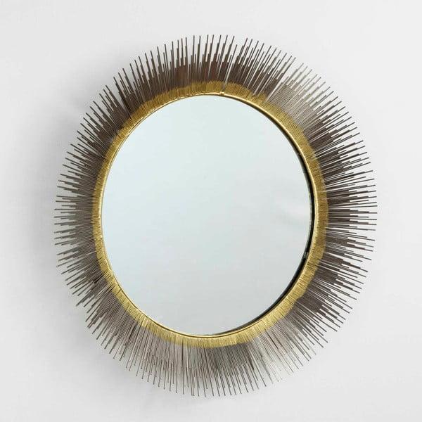 Nástěnné zrcadlo s detaily ve zlaté a stříbrné barvě Thai Natura, ⌀81cm
