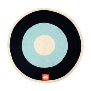 Covoraș Done by Deer, ⌀ 113 cm, albastru - negru