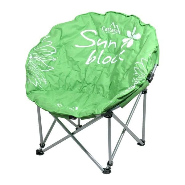 Zielone składane krzesło turystyczne Cattara Flowers