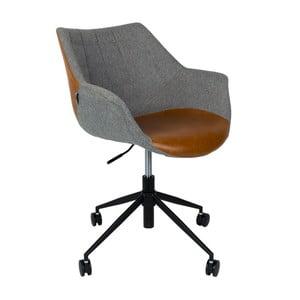 Šedá kancelářská židle s hnědým detaile Zuiver Doulton