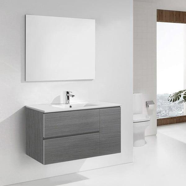 Koupelnová skříňka s umyvadlem a zrcadlem Happy, odstín šedé, 100 cm