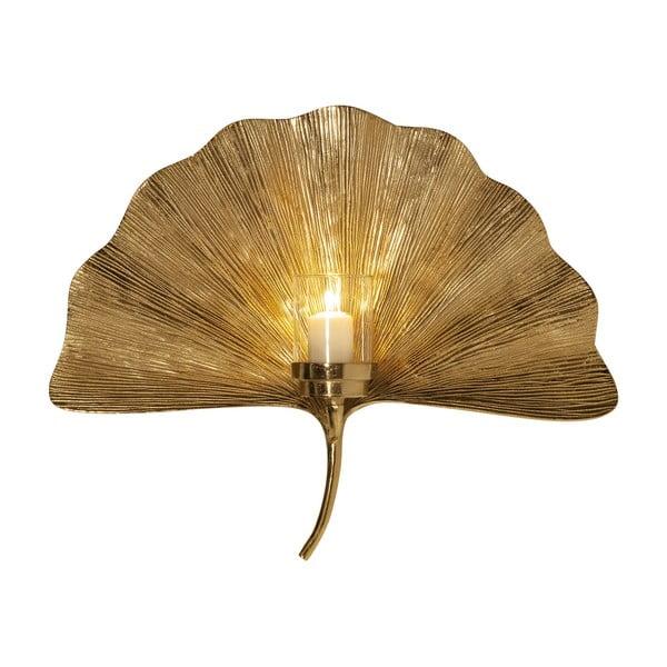 Nástěnný svícen ve zlaté barvě Kare Design Ginkgo Leaf, 60 cm