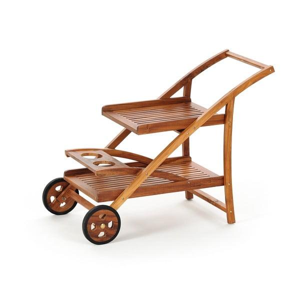 Teakový zahradní  pojízdní vozík s podnosy Carrello