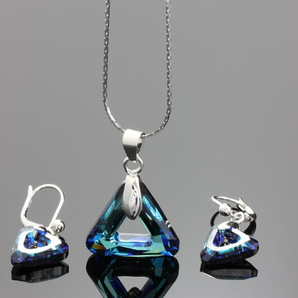 Set Swarovski Elements Triangles Blue