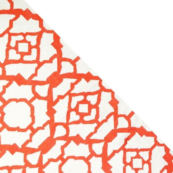 Vlněný koberec Geometry Chara Orange & White, 160x230 cm