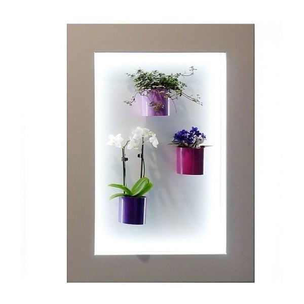 Svítící LED obraz 47,5x64,5 cm, světle šedý