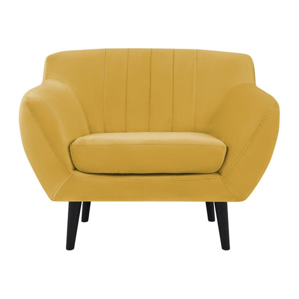 Toscane sárga fotel, fekete lábakkal - Mazzini Sofas