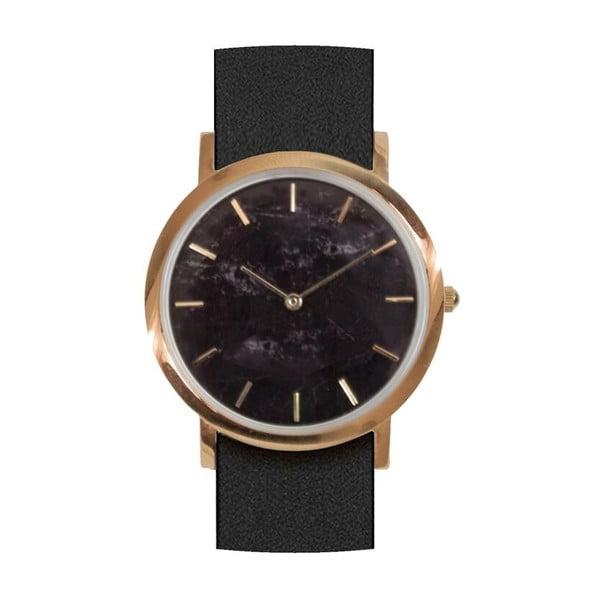 Černé mramorové hodinky s černým řemínkem Analog Watch Co. Classic