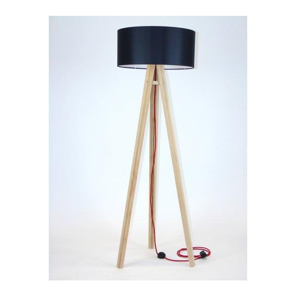 Wanda állólámpa fekete lámpabúrával és piros kábellel - Ragaba