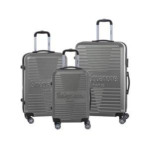 Sada 3 tmavě šedých cestovních kufrů na kolečkách se zámkem SINEQUANONE
