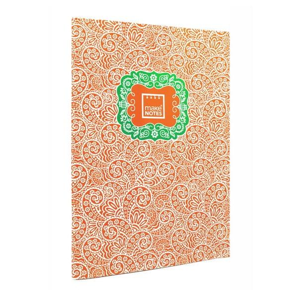 Oranžový osobní organizér A4 Makenotes Paisley One, 40 listů