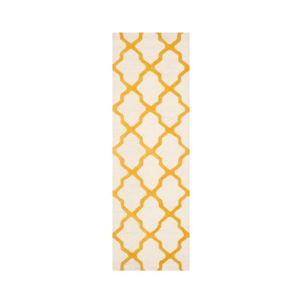 Ava fehér-citromsárga gyapjú futószőnyeg, 76 x 243 cm - Safavieh