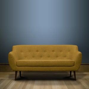 Hořčičně žlutá trojmístná pohovka s hnědými nohami Mazzini Sofas Piemont