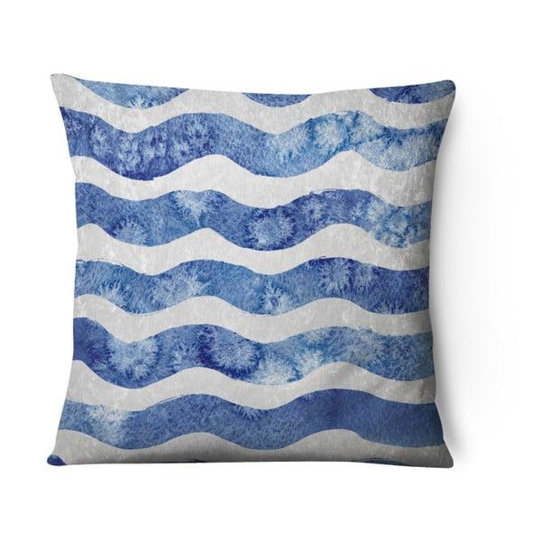 Față de pernă din catifea Azul Waves Duro, 43 x 43 cm