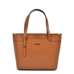 Koňakově hnědá kožená kabelka Mangotti Bags Avril