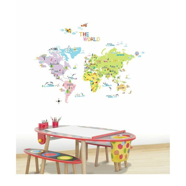 Sada samolepek Ambiance World Map for Children