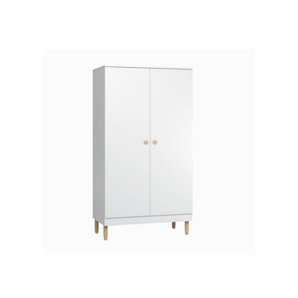 Bílá šatní skříň s nohami z borovicového dřeva Vox Boca