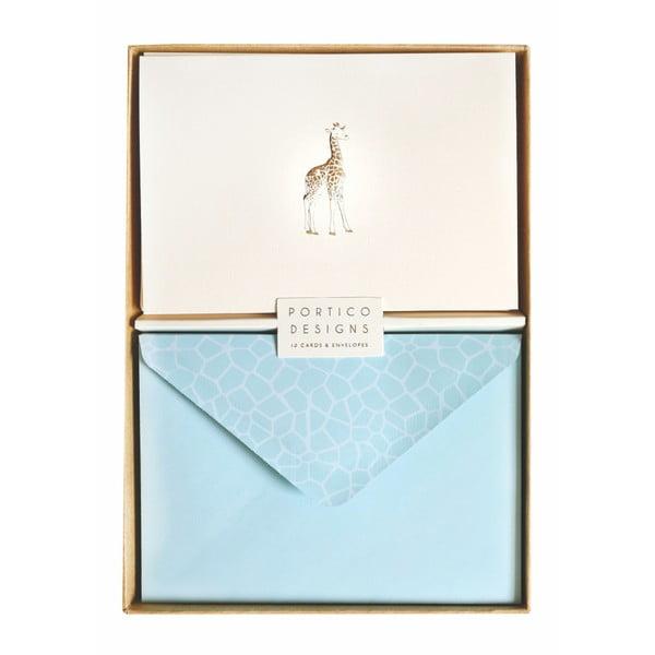 Sada 10 darčekových pohľadníc s obálkami Portico Designs Giraffe