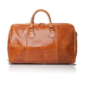 Světle hnědá lesklá kožená cestovní taška Medici of Florence Enrico