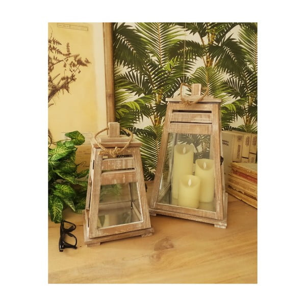 Set 2 felinare din lemn de mango Orchidea Milano