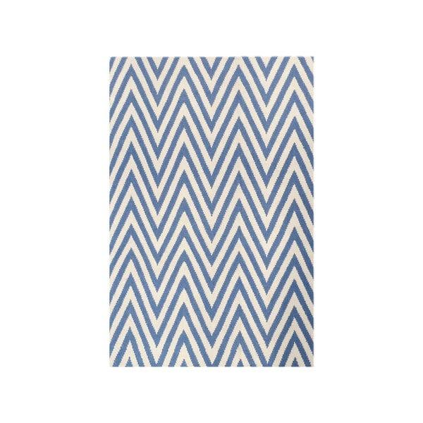 Vlněný koberec Zig Zag Light Blue, 180x120 cm