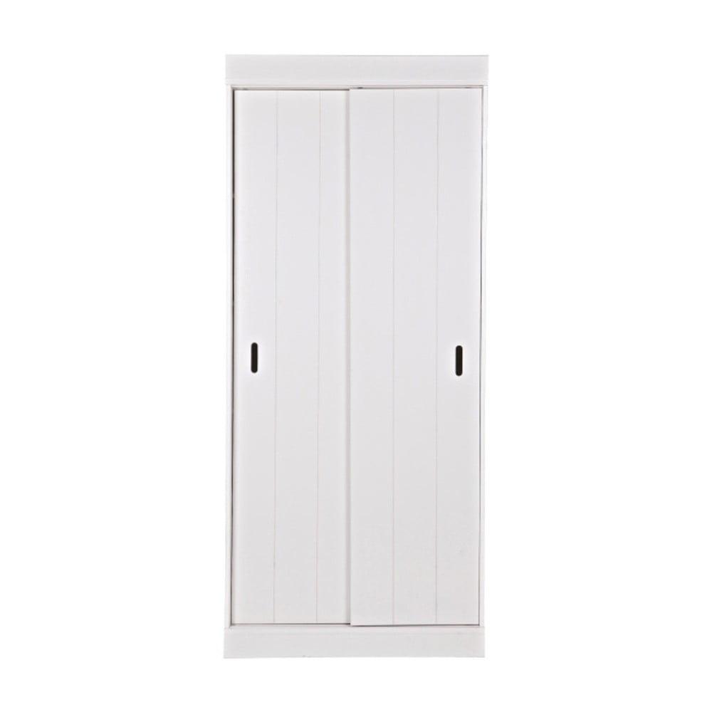 Bílá dřevěná skříň s pojízdnými dveřmi De Eekhoorn Row