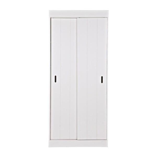 Bílá dřevěná skříň s pojízdnými dveřmi WOOOD Row