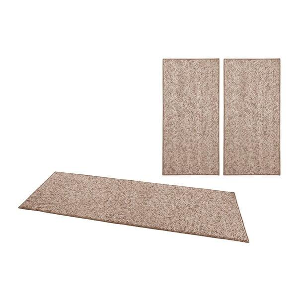 Zestaw 3 brązowych dywanów BT Carpet Wolly