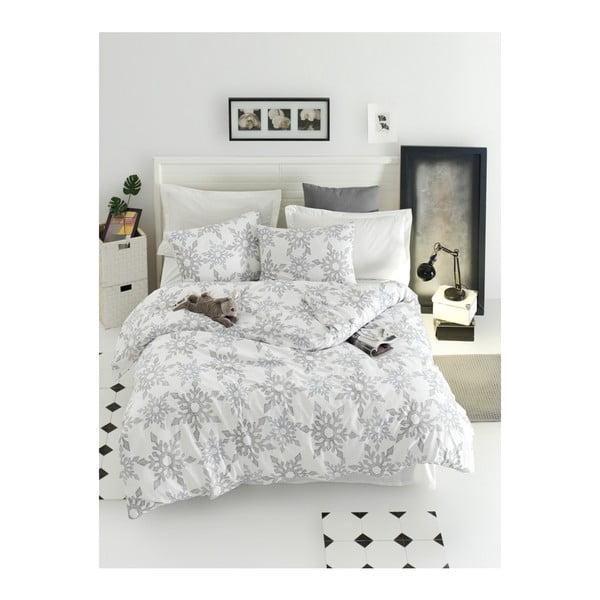 Lenjerie de pat din bumbac ranforce pentru pat de 1 persoană Mijolnir Irene White, 140 x 200 cm