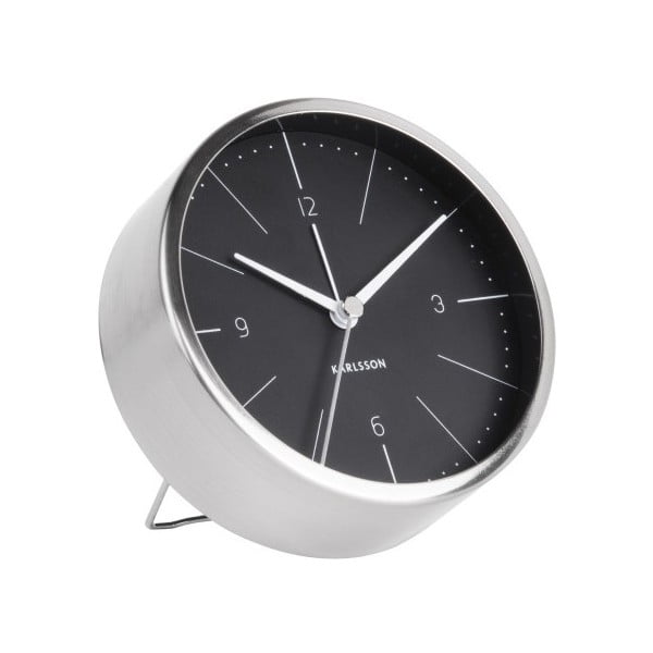 Ceas alarmă Karlsson Normann, Ø 10 cm, negru - gri
