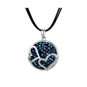Náhrdelník s modrými krystaly Swarovski Elements Crystals Double Heart