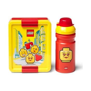 Set caserolă pentru gustări și sticlă LEGO® Iconic, roșu-galben imagine