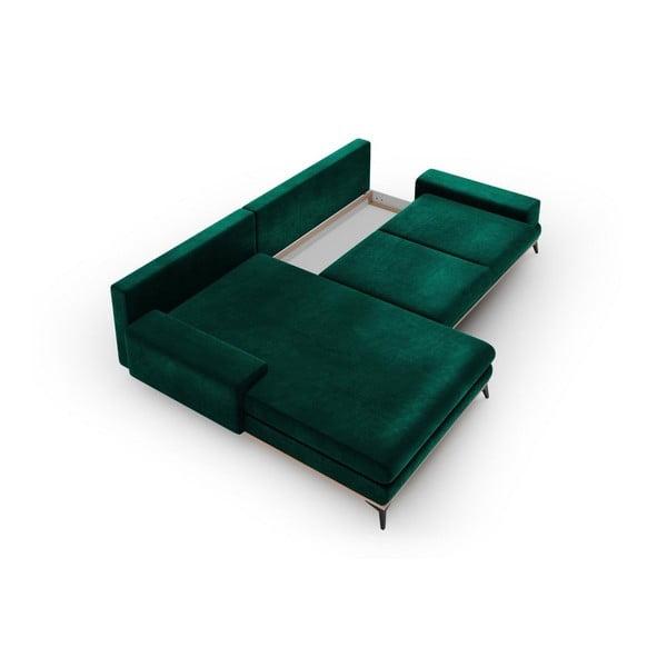 Canapea extensibilă tip colțar cu șezlong pe partea stângă Windsor & Co Sofas Astre, verde