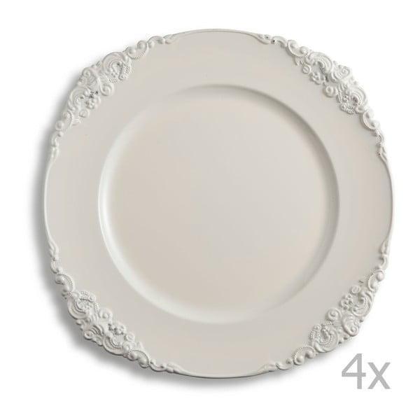 Sada čtyř krémových talířů Brandani Elegance