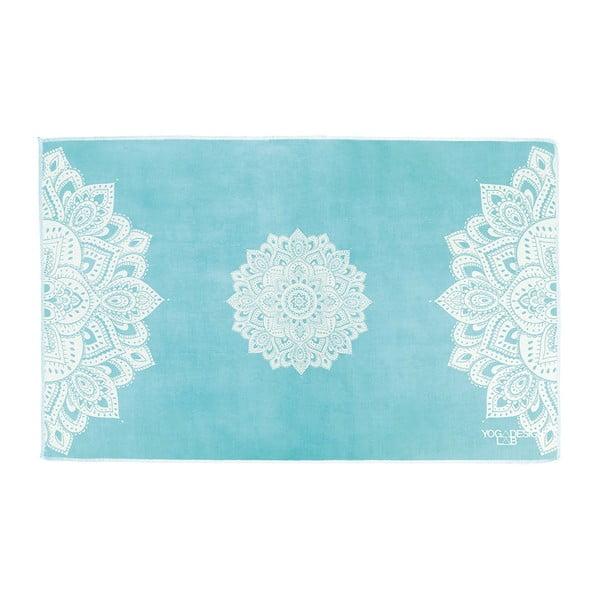 Turkusowy ręcznik do jogi Yoga Design Lab Mandala, 61x38cm