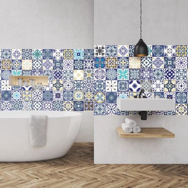 Set 60 autocolante pentru perete Ambiance Azulejos Cyprus, 10 x 10 cm