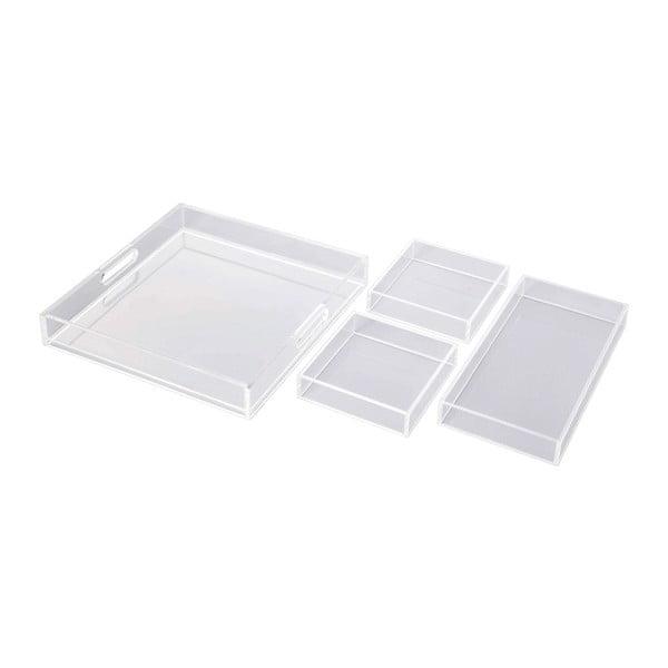 Set tavă mare cu 3 tăvi mai mici Tomasucci Split, transparent