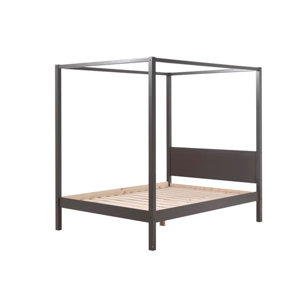 Szare łóżko dziecięce Vipack Pino Canopy, 140x200 cm