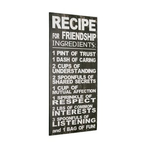Cedule Recipe for friendship, 60x30 cm