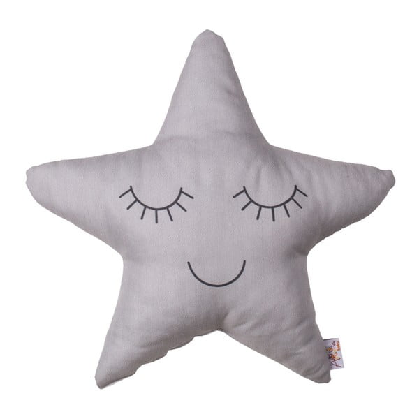 Pillow Toy Star szürke pamutkeverék gyerekpárna, 35 x 35 cm - Apolena