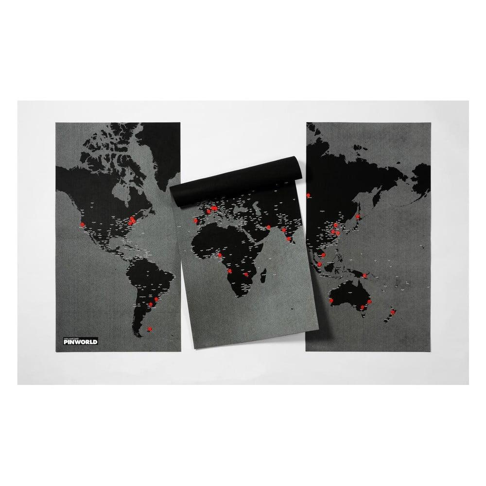 Černá nástěnná mapa světa Palomar Pin World XL, 198 x 124 cm