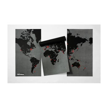 Hartă a lumii de perete Palomar Pin World XL, 198 x 124 cm, negru de la Palomar