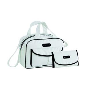 Set bílé tašky na kočárek a přebalovací podložky Naf Naf Dots