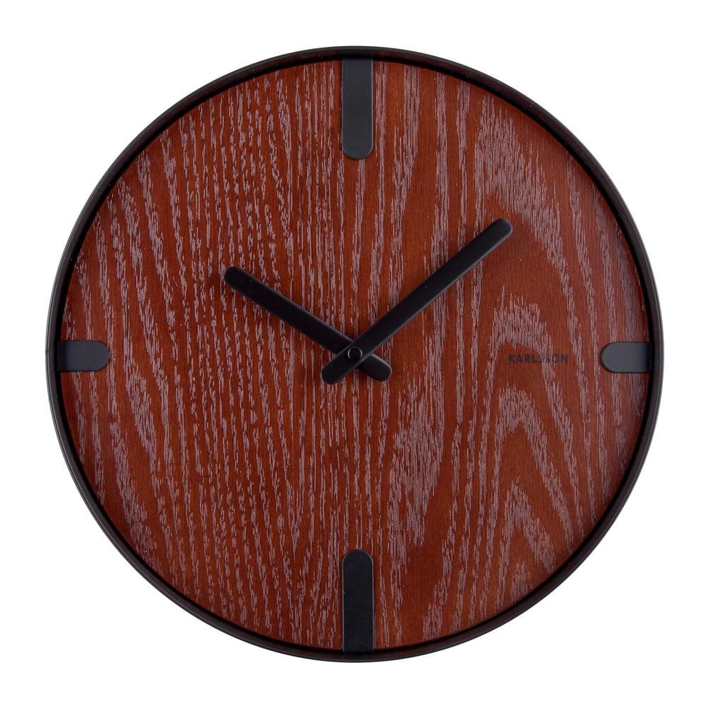 Nástěnné hodiny z ořešákovédýhy PT LIVING Dashed, ø 30 cm