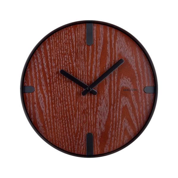 Zegar ścienny forniru orzechowego Karlsson Dashed, ø 30 cm