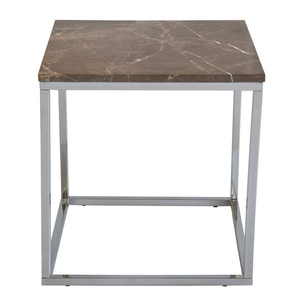 Hnedý mramorový odkladací stolík s chrómovanou podnožou RGE Accent, šírka 50 cm