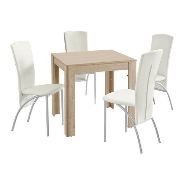Lori Nevada Duro Oak White étkezőasztal, 4 db fehér étkezőszékkel - Støraa