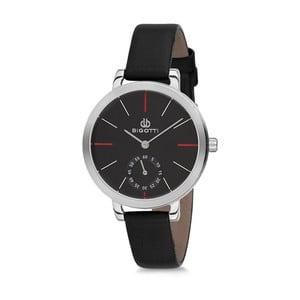 Dámské hodinky s černým koženým řemínkem Bigotti Milano Silverina